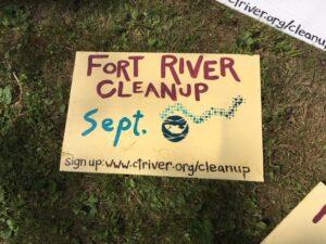 Fort River Cleanup sign